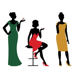 Silhouettes of women dressed in evening dress vector image vector image