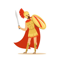 spartan warrior character in golden armor and red vector image