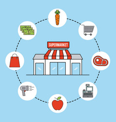 supermarket facade exterior commerce grocery icons vector image
