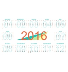 template calendar 2016 years Week starts vector image