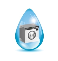 Washing machine in a water drop vector image