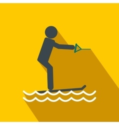 Water skiing flat icon vector