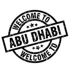 Welcome to abu dhabi black stamp vector