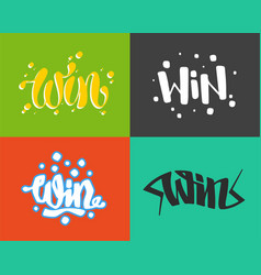 win text sign test success message contest vector image vector image
