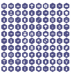 100 hobby icons hexagon purple vector