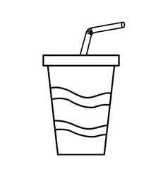 Soda drink glass with straw vector