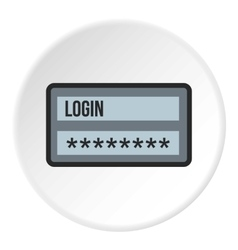 Username and password icon flat style vector