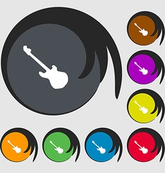 Guitar icon sign symbols on eight colored buttons vector