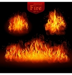 Hot fire realistic elements set for design vector