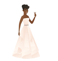 African fiancee showing the victory gesture vector