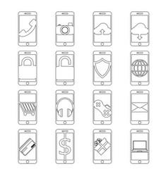 Set of mobile phone line icon design editable vector