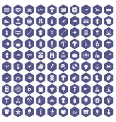 100 hobby icons hexagon purple vector