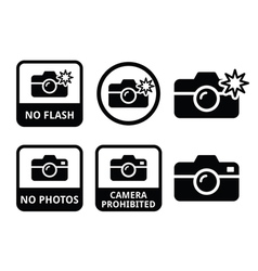 No photos no cameras no flash icons vector image