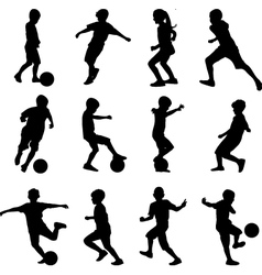 Kid playing soccer vector