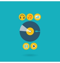 Flat design concept for listening to music vector