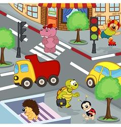 Animals at crossroads vector