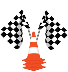 Racing flags and traffiic cones vector
