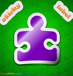 Puzzle piece icon sign symbol chic colored sticky vector