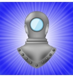 Old metal diving helmet vector