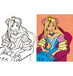 Colouring book of blonde princess vector