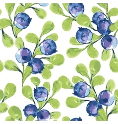 Seamless pattern with blueberries vector