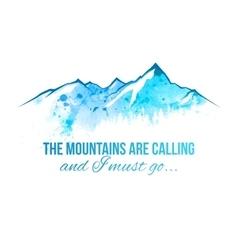watercolor mountains border vector image