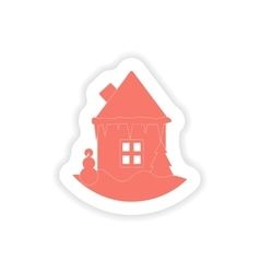 paper sticker on white background house snowman vector image