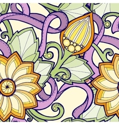 Seamless pattern with stylized flowers ornate vector