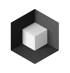Abstract geometric background with white cube in vector