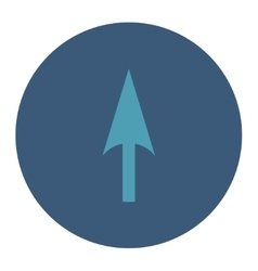 Arrow axis y flat cyan and blue colors round vector
