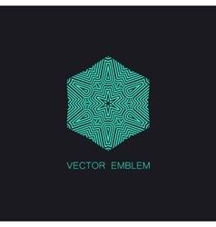 Art-deco turquoise emblem vector