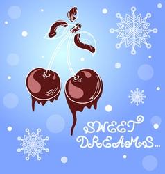 Branch of sweet cherry berries vector image