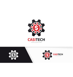 casino and gear logo combination chip and vector image