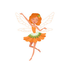 Cheerful red-haired fairy with little magic wings vector