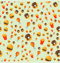 Colorful cartoon fast food seamless pattern vector