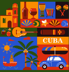 Cuba tourism icons vector
