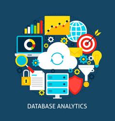 database analytics flat concept vector image vector image