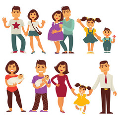 Family mother father and children flat vector