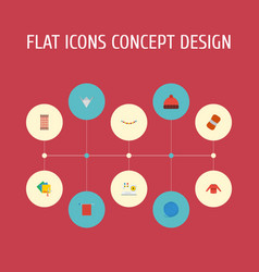 flat icons scissors yarn wool and other vector image