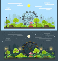 flat style modern design of public park landscape vector image vector image