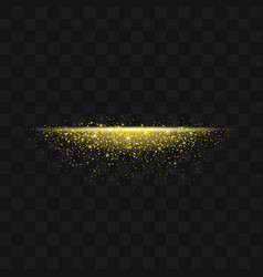 Gold glittering trail sparkling stardust abstract vector