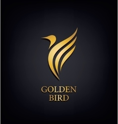 Golden Phoenix bird brand animal logoluxury vector image