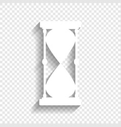 Hourglass sign white icon vector
