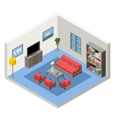 interior of the isometric room with vector image vector image