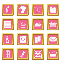 laundry icons pink vector image vector image