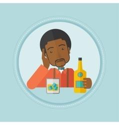 Man drinking alone at the bar vector