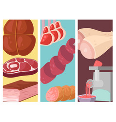 meat products card cartoon delicious barbecue vector image
