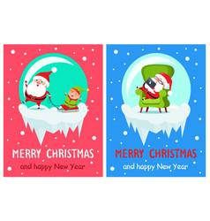 merry christmas santa set vector image