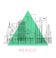 Outline mexico skyline vector