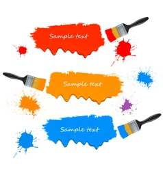 Paint brushes and paint banners vector